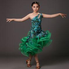 New professional green dance costumes for kids latin dress fringe tiger elastic dancewear rumba samba costumes salsa dress