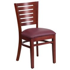 Flash Furniture Darby Series Slat Back Mahogany Wooden Restaurant Chair - Burgundy Vinyl Seat [XU-DG-W0108-MAH-BURV-GG]