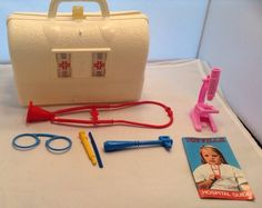 Vintage 1974 Hasbro Doctor Play Set Bag with Accessories Hospital Guide Included…