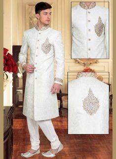 This fashionable white brocade wedding sherwani is ornamented with exclusive designer embrodiery work. Stole and mojari can be purchased additionally. They are not a part of this sherwani. Any biggest size possible. Sherwani For Men Wedding, Wedding Dresses Men Indian, Sherwani Groom, Mens Sherwani, African Wedding Attire, Wedding Dress Men, Hijab Wedding Dresses, Formal Dresses For Weddings, Party Wear Dresses