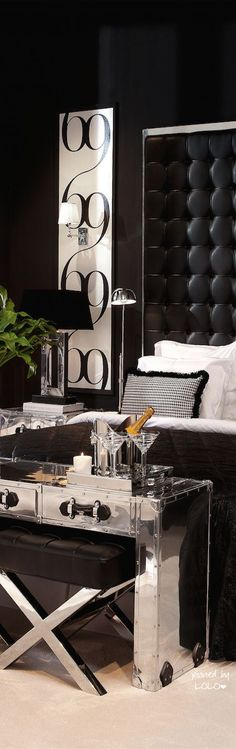 Headboard & side art combine as one in contemporary bedroom. Love the contemporary bedroom look Black And White Interior, Home Decor Bedroom, Edgy Bedroom, Silver Bedroom, Bedroom Interiors, Design Bedroom, Modern Bedroom, Bedroom Ideas, Master Bedroom
