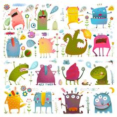 Cartoon Monsters for Kids Design Set - Monsters Characters