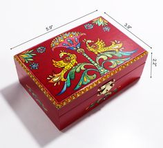 Wooden jewelry box sunshine Trinket Box Hadmade Box with Birds Russian folk Gift for mom painting Red wooden Box Folklor