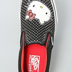The Hello Kitty Classic Slip On Sneaker in Black & Red