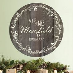 Mr. and Mrs. Personalized Brown Tin Sign Wooden Door Signs, Wooden Wedding Signs, Wooden Doors, Personalized Couple Gifts, Wood Circles, Wooden Names, Watercolor Invitations, Wood Rounds, Porch Signs