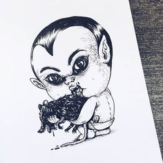 Chicago-based illustrator Alex Solis ( previously ), has created this incredible illustration series that features famous monsters and other terrifying characters from horror movies and tales as babies. Michael Myers, Freddy Krueger, Arte Horror, Horror Art, Horror Movies, Horror Cartoon, Monster Illustration, Character Illustration, Hannibal Lecter