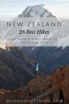 26 Best Hikes in New Zealand - find out where to hike in the North Island and the South Island Discover the best hiking destinations in New Zealand. We've curated our favorite New Zealand day hikes and overnight hikes to backcountry huts. North Island New Zealand, Nz South Island, New Zealand Adventure, New Zealand Travel Guide, Hiking Guide, Best Hikes, Australia Travel, Outdoor Travel, Travel Posters