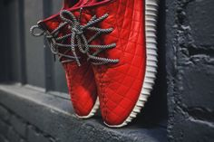 The Shoe Surgeon Custom Red Quilted Yeezy Boost 350 Sneakers | HYPEBEAST