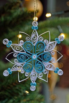 Small quilled white and blue snowflake | Flickr - Photo Sharing!