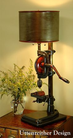 Vintage Industrial Drill Press Table Lamp, Original Design, Artistically Reclaimed,