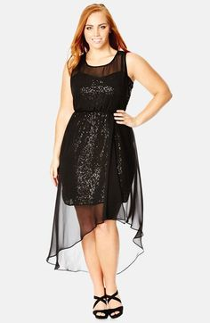 Free shipping and returns on City Chic 'Sequin Dazzle' Chiffon Overlay Dress (Plus Size) at Nordstrom.com. An ethereal chiffon overlay softens the head-turning glamour of a form-fitting slipdress blanketed in shimmering sequins. The overlay dips to a V in back and falls to a floaty high/low finish.