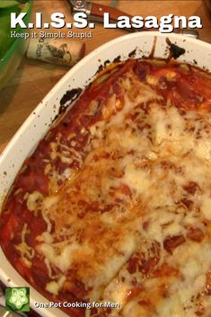 K.I.S.S. Lasagna, keep-it-simple-stupid lasagna, offers a sensuous, savory sauce, crisp edges, creamy cheese texture and time-saving no-boil whole wheat noodles. Mmm.