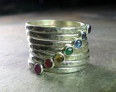 Turquoise stapelen ringen Sterling Silver door LavenderCottage