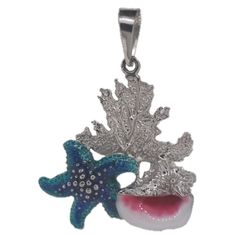 Sterling silver starfish and conch shell reef jewelry #jewelry #reef #nautical