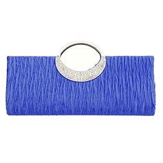 Fashion Road Womens Luxury Evening Wedding Party Purse Clutch Rhinestone Satin Pleated Handbag Wallet
