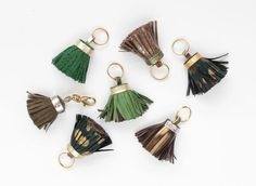 Big leather tassel key charm / key fobs / Green by DDSLLGirlsStore