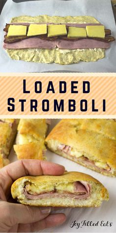"Loaded Stromboli - Low Carb, Grain Free, THM S. Golden dough stuffed with ham, Irish cheddar, and bacon. ""Best dinner ever,"" said the kids. And I agreed. This Loaded Stromboli was gobbled up before I had my fill. You better believe it's going back into the dinner rotation. via @joyfilledeats"