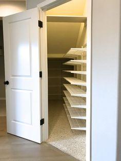 Basement storage ideas under stairs closet door under stair closet under st Basement Closet, Hall Closet, Basement Storage, Closet Storage, Closet Organization, Kitchen Storage, Kitchen Organization, Under Stairs Pantry, Stairs In Kitchen