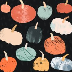 Pumpkin Pattern by Tom Abbiss Smith, simple, pattern, design, texture, collage, autumn, colour, illustration, halloween