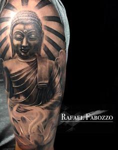 Buddha Tattoo by Rafael Fabozzo Eagle Tattoos, Color Tattoo, Portrait, Buddha, Colors, Men Portrait, Color Tattoos, Paintings, Portraits