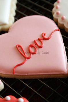 Pink Love Heart Valentine Cookie
