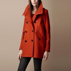 Orange Lapel Double-breasted Coat, #Wendybox