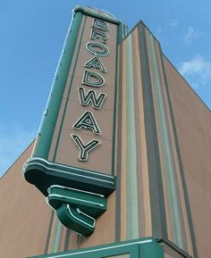 Broadway Theatre neon sign in Alamo Heights -- the theatre was turned into an office building 25 years ago, but the sign remains a local landmark across from a trolley stop. Alamo Heights, Broadway Theatre, San Antonio, Popcorn, Coca Cola, Schools, Theater, The Neighbourhood, The Past
