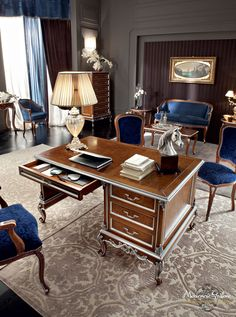 12304 Office desk by Modenese Gastone group Classic Furniture, Luxury Furniture, Home Furniture, Classic Interior, Luxury Interior, Interior Design, Caracole Furniture, Wood Office Desk, Luxury Office
