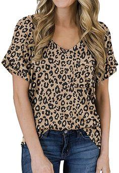 MIHOLL Women's Short Sleeve V-Neck Shirts Loose Casual Tee T-Shirt (Khaki, Small) at Amazon Women's Clothing store Loose Shirts, Loose Tops, Loose Fit, Casual Tops For Women, Women's Casual, Casual Party, Casual Outfits, Tie Dye Shirts, Women's Shirts