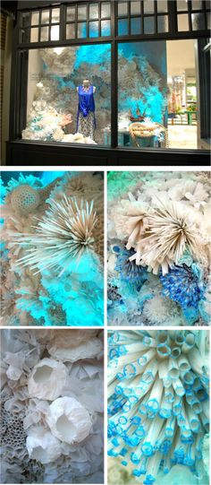 This would look awesome in The Hangar at Stanley for your event! (wall decoration with paper awesome) Visual Display, Display Design, Store Design, Visual Merchandising, Anthropologie Display, Store Window Displays, Sea Theme, Ocean Themes, Ocean Art