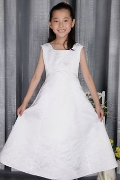 Straps Romantic White Flower Girl Dresses - Order Link: http://www.theweddingdresses.com/straps-romantic-white-flower-girl-dresses-twdn1041.html - Embellishments: Applique; Length: Tea Length; Fabric: Satin; Waist: Natural - Price: 72.71USD