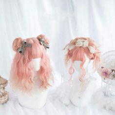 New Japanese Cosplay Chocolate Long Curly Hair Lolita Sweet Girl Party Daily Wig Kawaii Hairstyles, Bun Hairstyles, Pretty Hairstyles, Anime Wigs, Anime Hair, Lolita Cosplay, Wig Styles, Curly Hair Styles, Double Hair Buns
