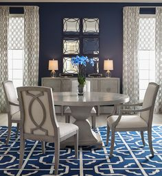 Shop now and save on Bernhardt Criteria Round Dining Table and other Bernhardt Furniture at Carolina Discount Furniture. Grey Round Dining Table, Dining Room Blue, Solid Wood Dining Set, Pedestal Dining Table, Dining Room Sets, Dining Room Design, Dining Tables, Small Dining, Outdoor Dining
