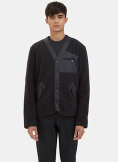 YANG LI Men'S Ktc Fleeced Bomber Cardigan In Black. #yangli #cloth #