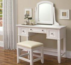 Homestyles Naples White Vanity Dressing Makeup Table