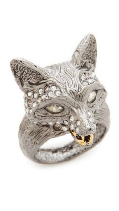 Alexis Bittar Crystal Encrusted Fox Ring