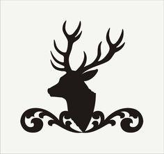 Buck Deer **STENCIL**Buck Mount with Flourish- 3 sizes- Create Buck Signs and Cabin Pillows
