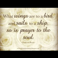 What wings are to a bird, and sails to a ship, so is prayer to the soul. Corrie Ten Boom