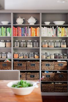Nicely organized. I think I would cover the cook books in brown kraftpaper for a neutral look, especially if this not in a enclosed pantry.