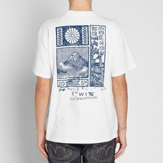 Edwin From Japan With Love Tee Drawing on their own roots in Japan, Edwin style this cotton tee with a postcard image of the beautiful scenery to the front and back panels. The image sits above the ph Shirt Print Design, Tee Shirt Designs, Tee Design, Graphic Shirts, Printed Shirts, Cool T Shirts, Tee Shirts, Streetwear, Japan Fashion