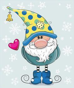 Greeting Christmas card Cute Cartoon Gnome on a blue background Christmas Rock, Christmas Gnome, Winter Christmas, All Things Christmas, Christmas Crafts, Christmas Decorations, Christmas Ornaments, Illustration Noel, Ideias Diy