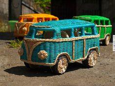 vw volkswagen camper bus hippie hippy van minibus minivan rattan wooden model wicker weaving planting bali indonesia handmade exotic unusual nice #kombilove