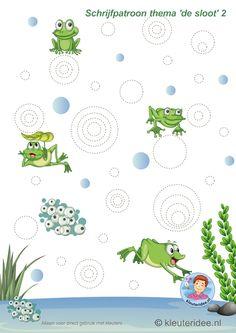 Schrijfpatroon voor kleuters, thema 'de sloot' 2, kleuteridee, preschool pond theme, free printable