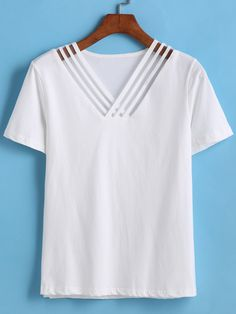 V Neck Hollow T-shirt 9.83