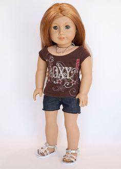 American Girl doll upcycled Roxy T shirt by EverydayDollwear