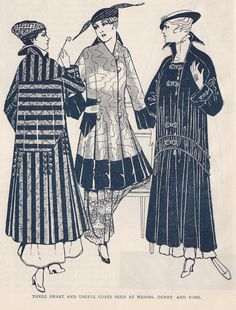 Stylish WW1 coats, Paris Journal 1915-16, from the History Wardrobe collection