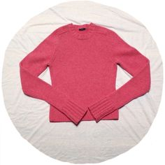 J. Crew Sweater Pink sweater from J. Crew. Sleeves are pretty long so they can be rolled up. Great condition.  Normal wear. No rips or stains. No size tag, but would beat fit a size small. Measures about  23 inches from shoulder to hem. ❌No trades❌ J. Crew Sweaters Crew & Scoop Necks