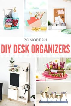 Are you looking to get your place organized on a budget? Try one of these 20 ideas for a DIY desk organizer! Personalize them any way you like. via @modpodgerocks