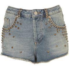 MOTO Gold Stud Denim Hotpants ($70) ❤ liked on Polyvore