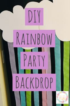 Make a cheap and easy DIY rainbow party backdrop by following this easty tutorial of how to make it. This idea will make your party awesome, fun and rainbows make everyone happy. It's perfect for a baby shower, wedding shower or a kids party. #Rainbow #Party #RainbowPartyBackdrop #Backdrop #DIY #Unikitty #KidsParty #BirthdayParty